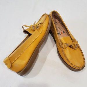 Anthro Bed Stü yellow leather mocassins loafers